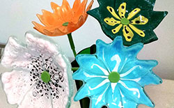 Fused Recycled Glass Flowers