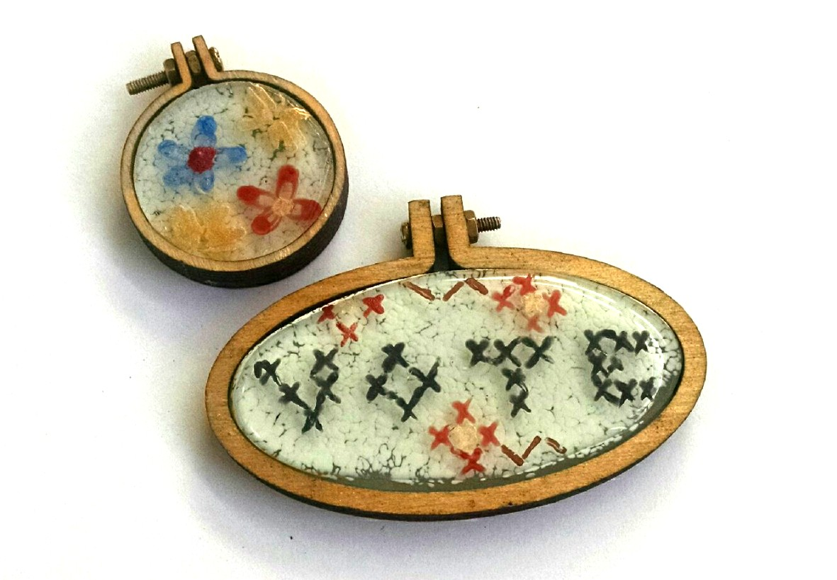 Fused Glass Embroidery Pendants