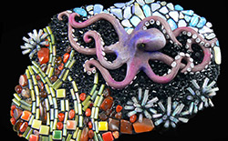 Ocean Commotion: Mosaic Assemblage with Polymer and Epoxy Clays!